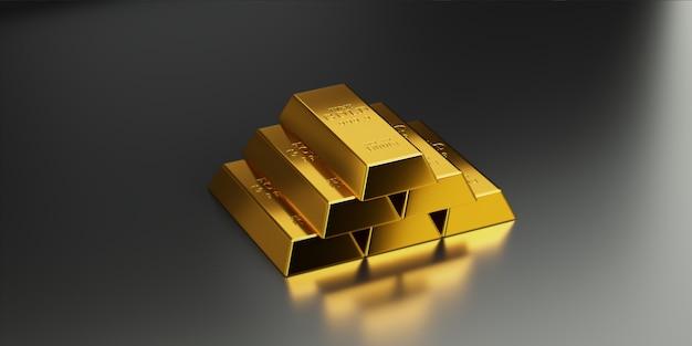 Goldbarren sind in höheren schichten angeordnet, um den höheren goldwert zu kommunizieren Premium Fotos