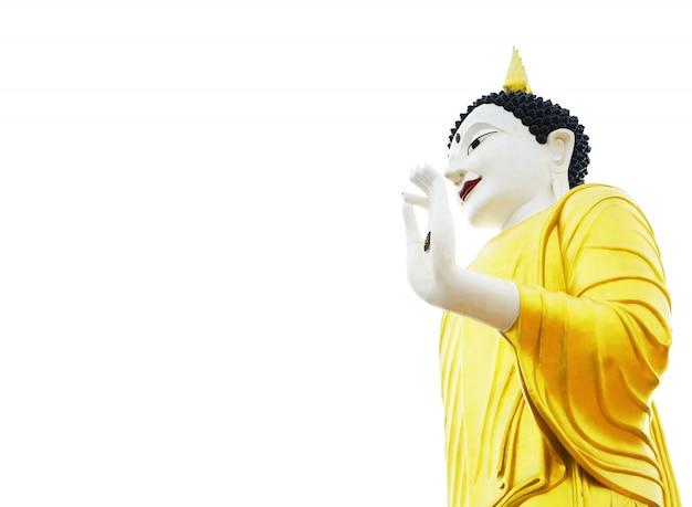 Goldene buddha-statue belichtet lokalisiert auf weißem hintergrund Premium Fotos