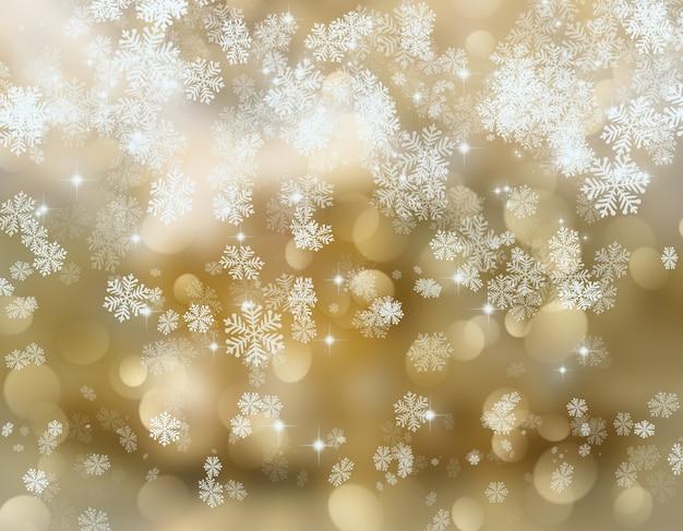 goldene weihnachten hintergrund der schneeflocken und. Black Bedroom Furniture Sets. Home Design Ideas