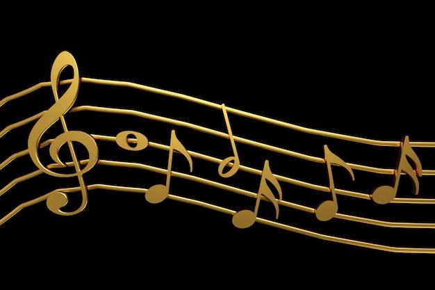 Goldener violinschlüssel und wiedergabe der musikanmerkung 3d. Premium Fotos