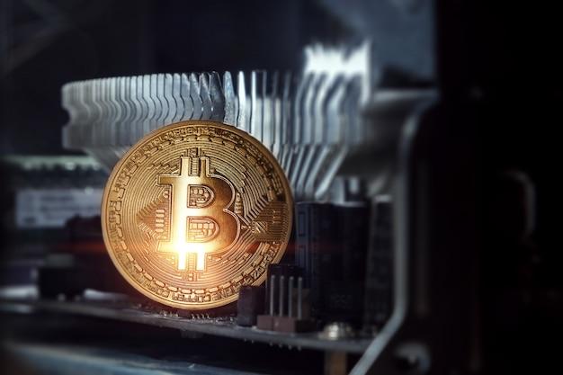 Goldenes bitcoin auf der computerplatine Premium Fotos