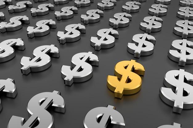 Goldenes dollarzeichen inmitten der zeichen des silbernen dollars. 3d-rendering. Premium Fotos