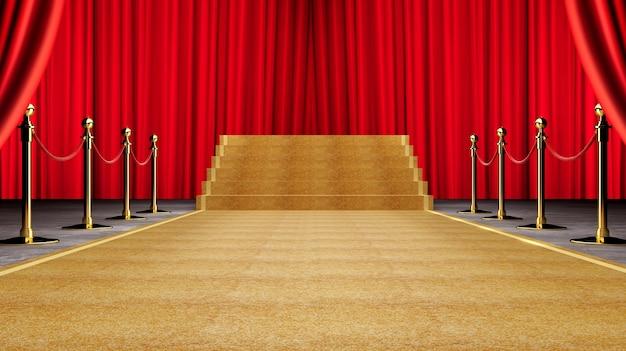Goldenes ereignis-teppich-, treppen-und goldseil-sperren-konzept des erfolgs und des triumphes Premium Fotos