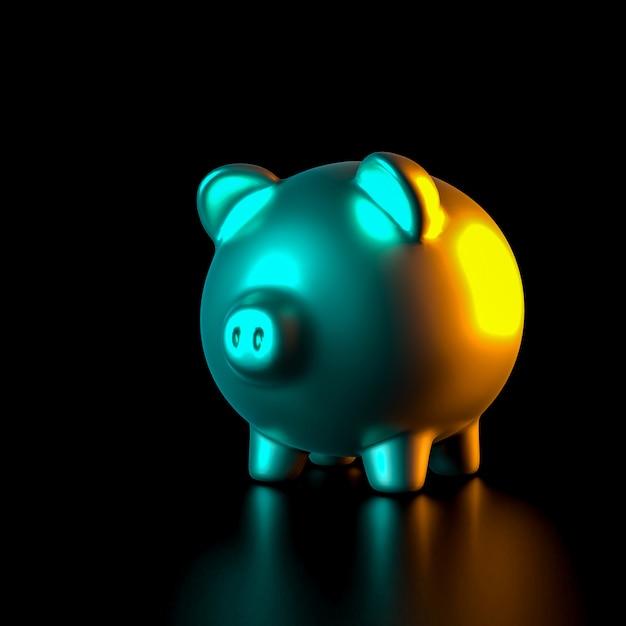 Goldenes sparschwein auf schwarzen und farbigen seitenlichtern. Premium Fotos