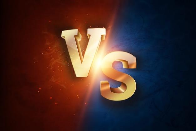 Goldenes versus logo, buchstaben für sport und wrestling Premium Fotos