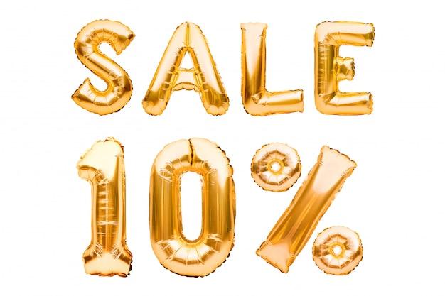 Goldenes zehn prozent verkaufsschild aus aufblasbaren luftballons, isoliert auf weiß. heliumballons, goldfoliennummern. Premium Fotos