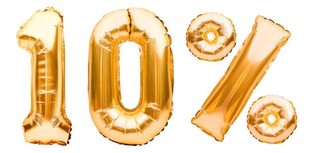 Goldenes zehn-prozent-zeichen aus aufblasbaren luftballons, isoliert auf weiß. heliumballons, goldfoliennummern. verkaufsdekoration, 10 prozent rabatt Premium Fotos