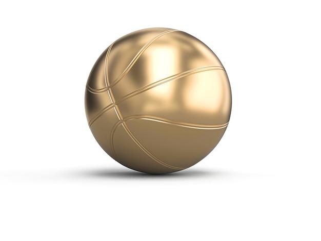 Goldfarbener basketball auf weiß Premium Fotos