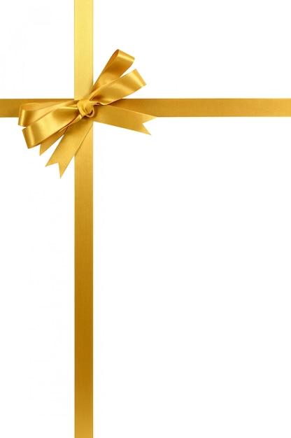 Goldgeschenkband und -bogen lokalisiert auf weißer vertikale Premium Fotos