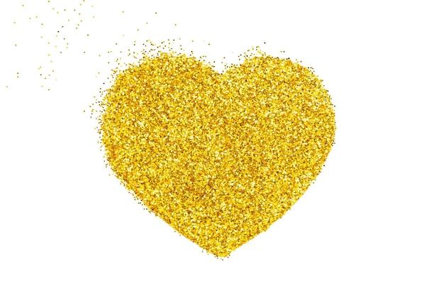 Goldherz. körniges punktmosaik. herz aus goldglitter. Premium Fotos