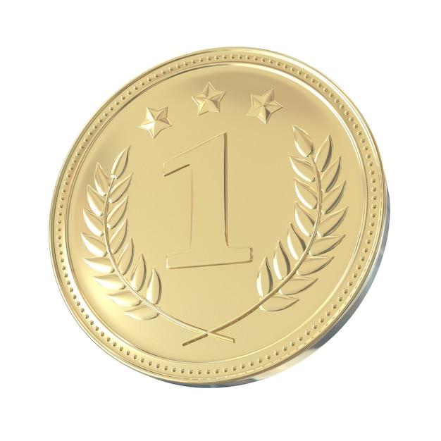 Goldmedaille mit lorbeeren und sternen. runde leere münze mit ornamenten. Premium Fotos