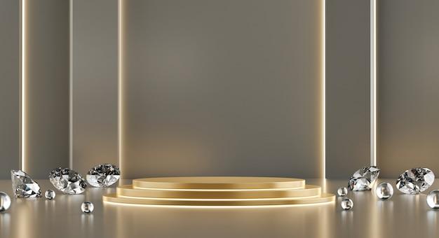Goldmetallische mock up standvorlage mit diamanten für produktwerbung und kommerzielles 3d-rendering. Premium Fotos