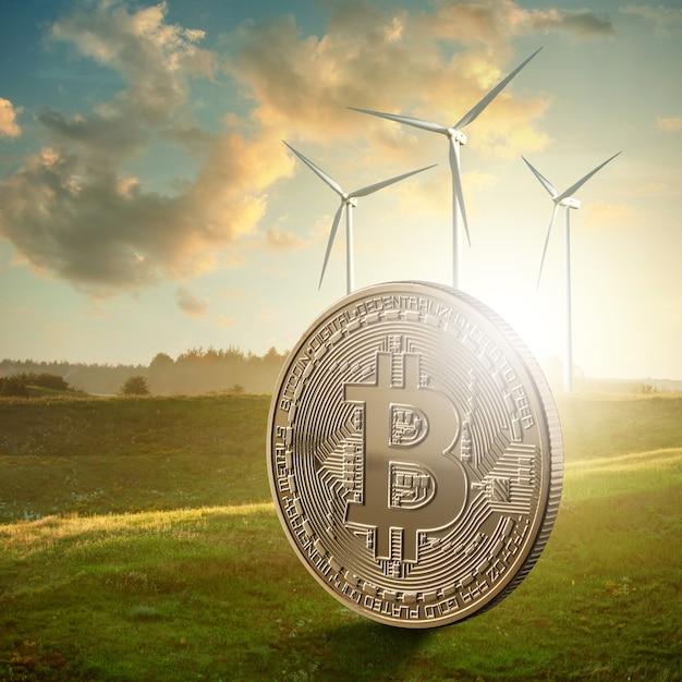 Goldmünze bitcoin vor dem hintergrund einer grünen wiese Premium Fotos