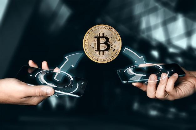Goldmünze bitcoin-zahlung. kryptowährung. blockchain-technologie .. Premium Fotos