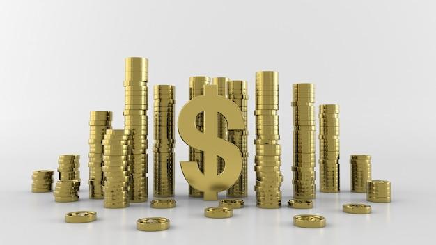 Goldmünzen lokalisierten geld, wiedergabe 3d Premium Fotos