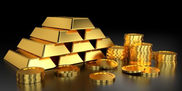 Goldpreis für website. 3d-rendering von goldbarren. Premium Fotos
