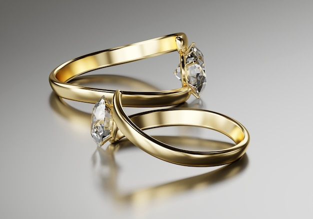 Goldring mit zwei diamanten Premium Fotos