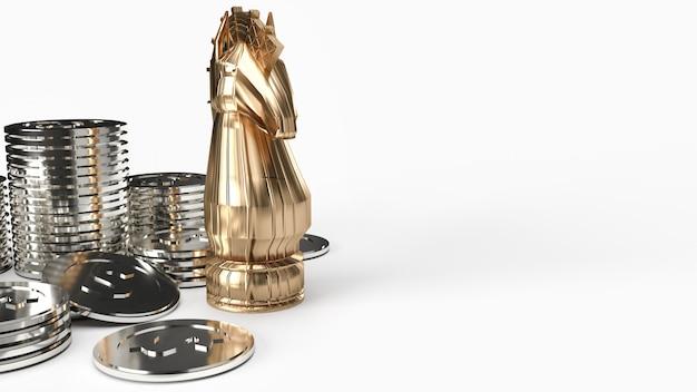 Goldritterschach- und silbermünzen-3d-rendering auf weißem hintergrund für geschäftsinhalte. Premium Fotos