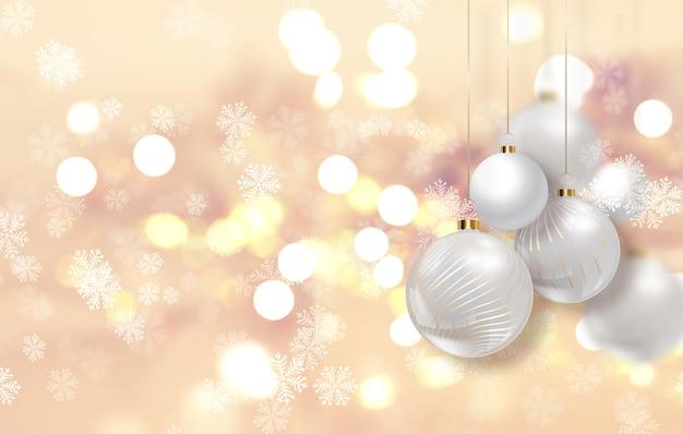 Goldweihnachtshintergrund mit hängenden kugeln Kostenlose Fotos