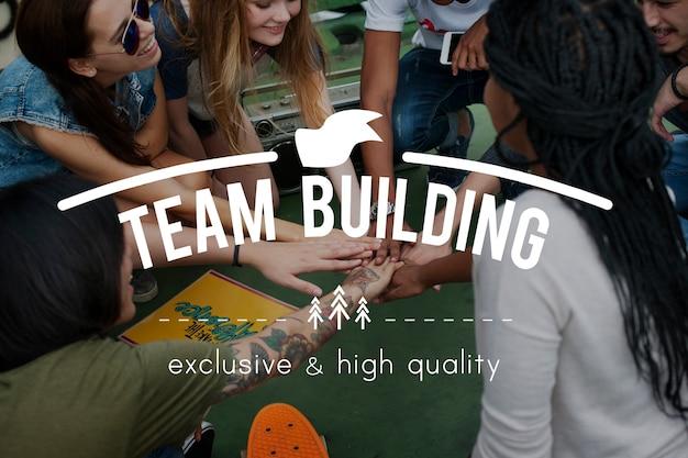 Grafisches wort des teamwork-zusammenarbeits-teams Kostenlose Fotos