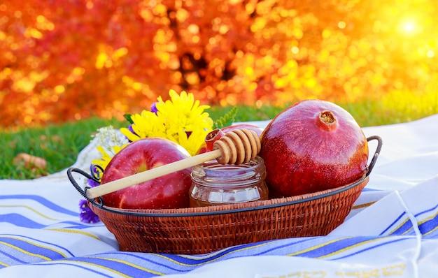 Granatapfel, apfel und honig, traditionelles essen der jüdischen neujahrsfeier, rosh hashana. Premium Fotos