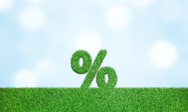Gras mit prozentzeichen symbol geschäftsentwicklung zum erfolg wachsendes wachstumskonzept Premium Fotos