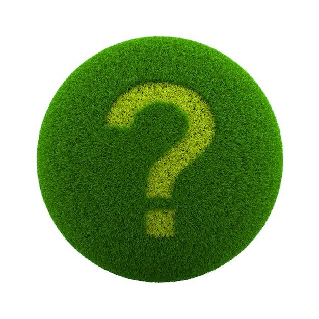 Grass sphere question icon Premium Fotos