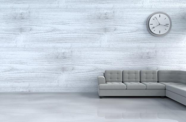 grau wei es wohnzimmer mit grauem sofa wanduhr h lzerne. Black Bedroom Furniture Sets. Home Design Ideas