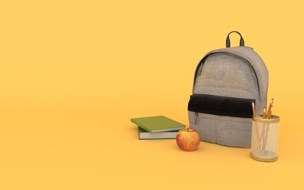 Grauer jeansrucksack im gelb mit büchern, apfel und bleistift zurück zu schule 3d übertragen Premium Fotos