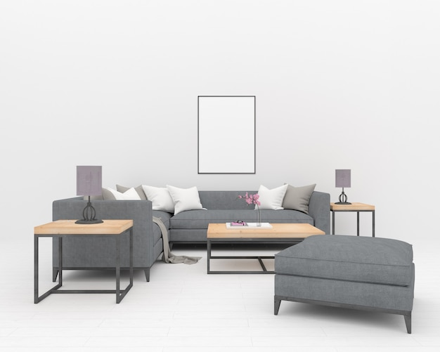 Graues sofa im weißen innenraum - vertikaler rahmen Premium Fotos