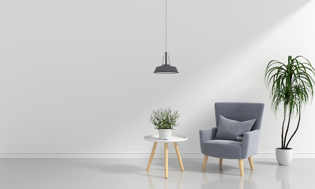 Graues sofa im weißen raum Premium Fotos