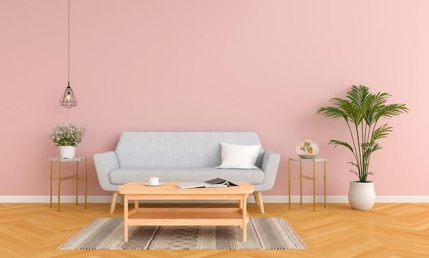 Graues sofa und tisch im rosafarbenen wohnzimmer Premium Fotos