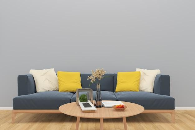 Graues Sofa Wand Holzboden Tisch Vase Baum Hintergrund Interieur Wohnzimmer  Premium Fotos