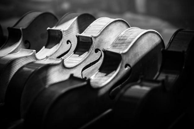 Graustufenaufnahme verschiedener geigen, die auf dem display eines musikinstrumentengeschäfts ausgerichtet sind Kostenlose Fotos