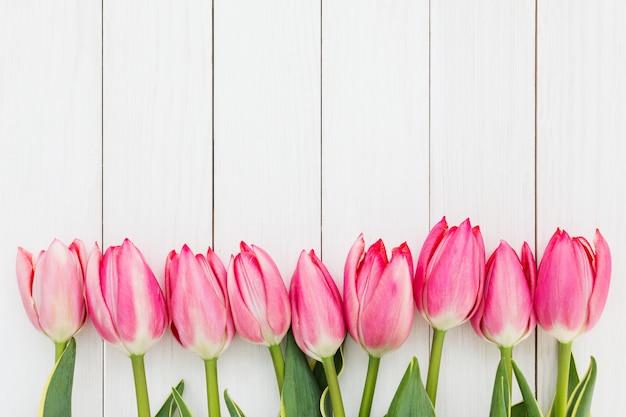 Grenze von rosa tulpen auf weißem hölzernem hintergrund. Premium Fotos