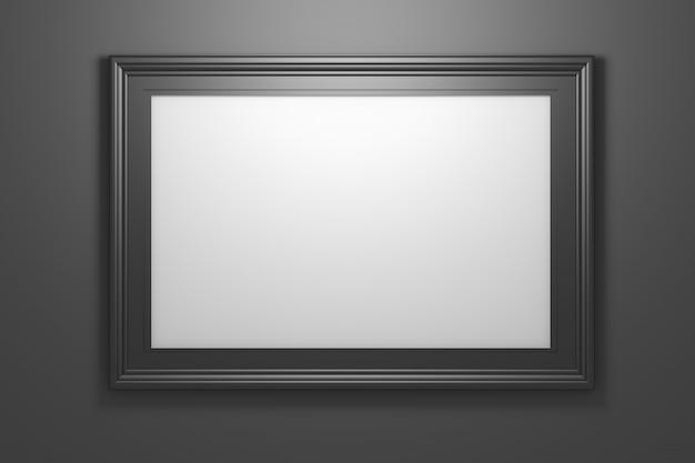 Große breite schwarze glänzende fotobilderrahmen mit kopienleerzeichen auf schwarzem hintergrund Premium Fotos