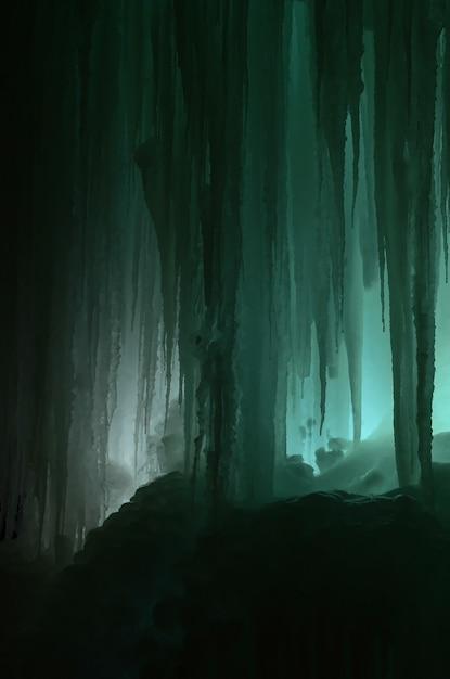 Große eisblöcke gefrorener wasserfall- oder höhlenhintergrund Premium Fotos