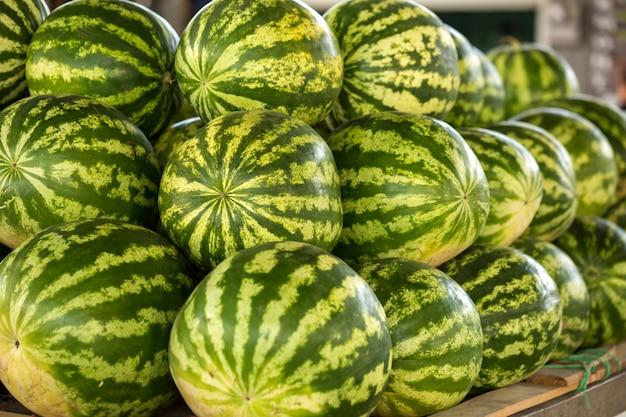 Große grüne wassermelonen sind auf dem markt. Premium Fotos