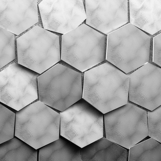 Große strukturierte sechsecke, grau gefärbt. zufällig angeordnete sechsecke. Premium Fotos