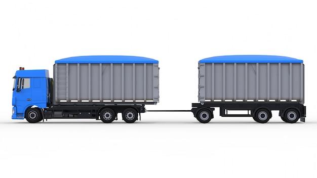 Großer blauer lkw mit separatem anhänger Premium Fotos