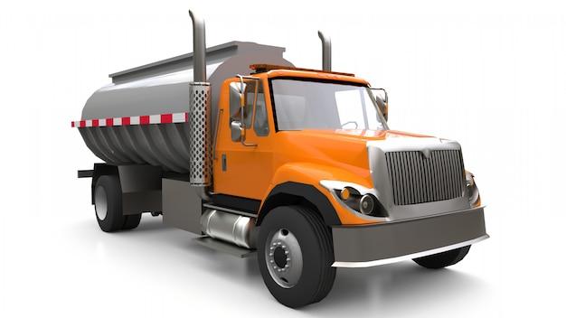Großer orangefarbener lkw-tanker mit anhänger aus poliertem metall. ansichten von allen seiten Premium Fotos