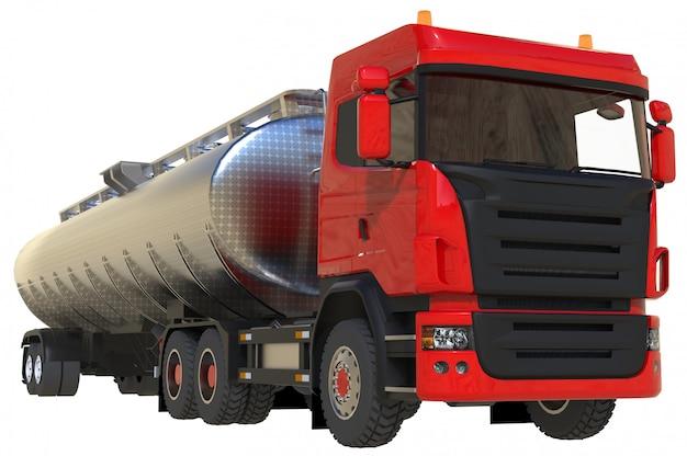 Großer roter lkw-tanker mit poliertem metallanhänger Premium Fotos