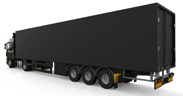 Großer schwarzer lkw mit auflieger. vorlage zum platzieren von grafiken. 3d-rendering. Premium Fotos