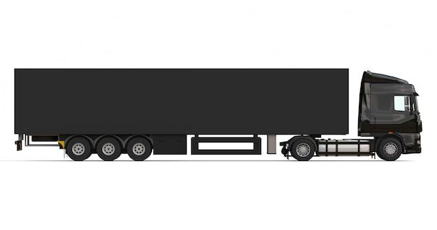 Großer schwarzer lkw mit sattelanhänger vorlage zum platzieren von grafiken Premium Fotos