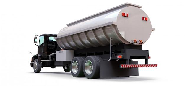 Großer schwarzer lkw-tanker mit poliertem metallanhänger. ansichten von allen seiten. abbildung 3d. Premium Fotos