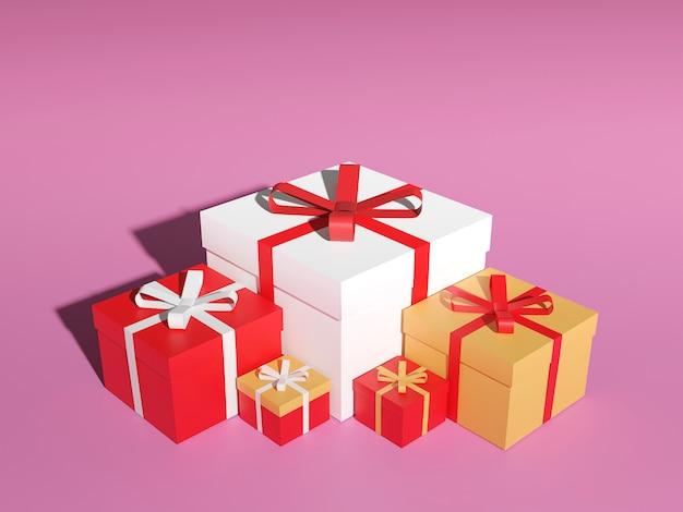 Großer stapel bunt verpackter geschenkboxen. viele geschenke, 3d-rendering. Premium Fotos