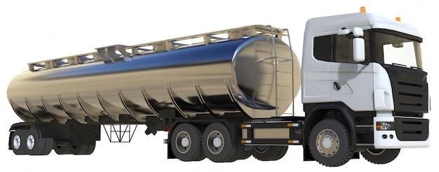 Großer weißer lkw-tanker mit einem anhänger aus poliertem metall. ansichten von allen seiten Premium Fotos