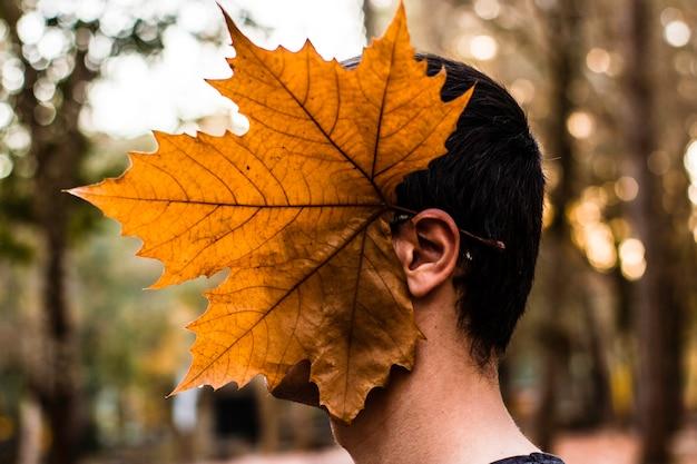 Großes ahornblatt auf dem kopf des jungen Premium Fotos