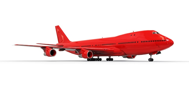 Großes passagierflugzeug mit großer kapazität für lange transatlantikflüge. rotes flugzeug auf weißem getrenntem hintergrund. abbildung 3d. Premium Fotos