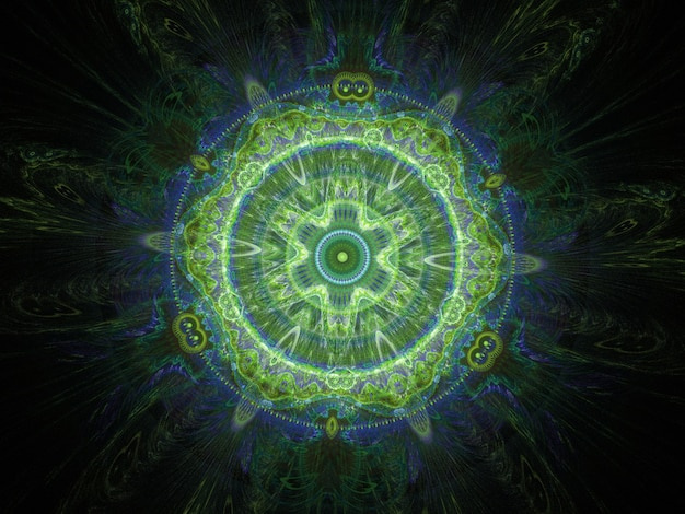 Grüne abstrakte runde kurven und linien auf schwarzem hintergrund Premium Fotos